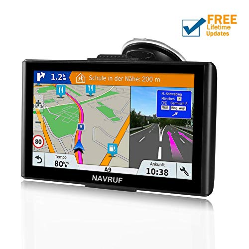 GPS Navigation for Car, NAVRUF 7 inch 8GB&256MB GPS Navigation System,Spoken Turn- to-Turn Traffic Alert Vehicle Car GPS Navigator,Lifetime Free Map Updates