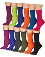 Tipi Toe Women's 12 Pairs Colorful Patterned Crew Socks