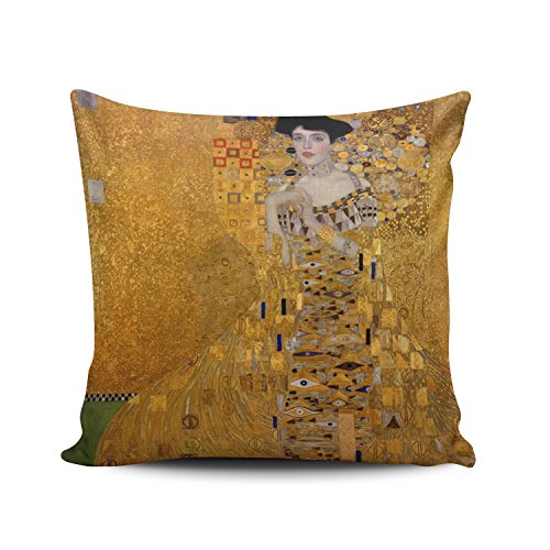 SALLEING Custom Fashion Home Decor Pillowcase The Lady in Gold the Extraordinary Tale of Gustav Klimt's Masterpiece Portrait of Adele Bloch-Bauer Euro Square Throw Pillow Cover Cushion Case 26x26 ()