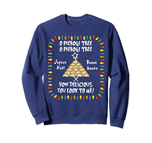 (Unisex O Pierogi Tree Joyeux Noel Holiday Sweatshirt Large Navy)