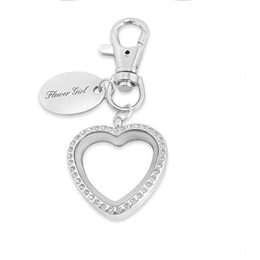 Luxury Engraved Gifts UK Women s Flower Girl Floating Charm Heart Keyring  Custom One Size Silver 66dbf3ae18