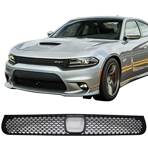 Grille Fits 2015-2016 Dodge Charger SRT8 | SRT8 Style ABS Plastic Black Front Bumper Grill Hood Mesh by IKON ()