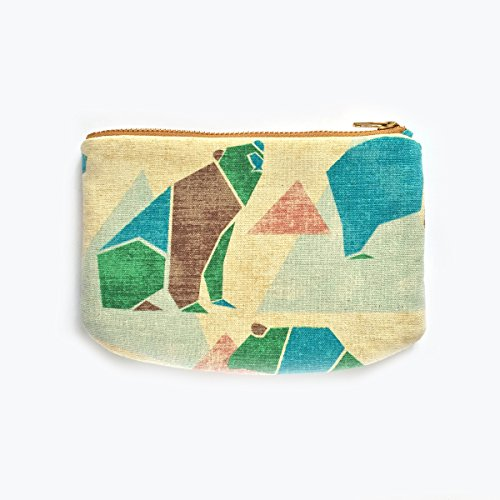 Bear Small Zipper Pouch, Origami, Triangle