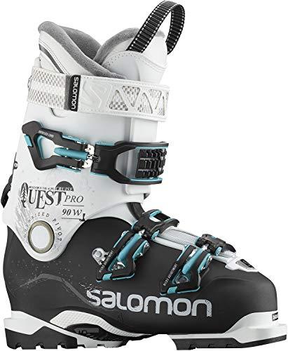 Salomon Womens Ski Boots - Salomon Quest Pro Cruise 90 W Womens Ski Boots 2019-27.5/Black-White-Aqua Blue