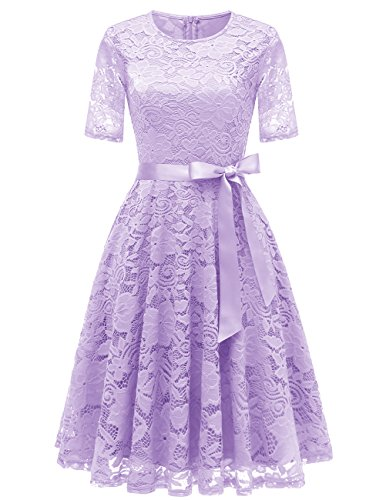 Lilac Floral Dress - DRESSTELLS Short Bridesmaid Scoop Floral Lace Dress Cocktail Formal Party Dress Lavender L