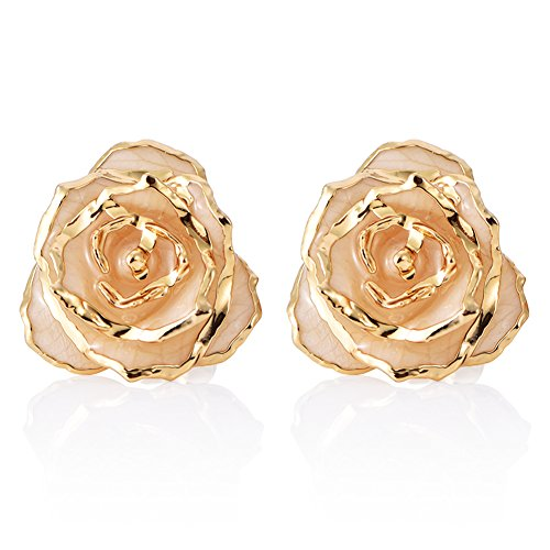 ZJchao Women Flower Stud Earrings Dipped 24K Gold Earring Pins Birthday Gift for Her (beige)