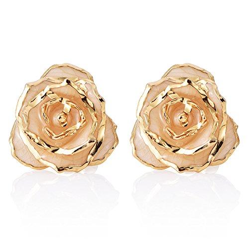 24k Gold Drop (ZJchao Women Flower Stud Earrings Dipped 24K Gold Earring Pins Birthday Gift For Her (Beige))