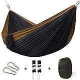 Double Camping Hammock - Portable Parachute Nylon Hammocks - Premium Tree Straps and Carabiners!