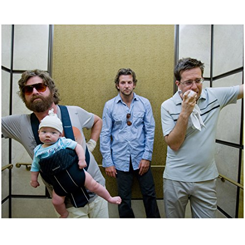 The Hangover 8 inch x 10 inch PHOTOGRAPH Alan in Sunglasses Holding Baby Stu with Handkerchief Looking Sad and Phil Looking Annoyed in Elevator Mid - In Sunglasses Celebrities