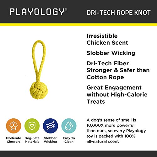 Product image of Playology Dri-Tech Rope Knot Scented Dog Toy, Durable Fiber Technology Resists Tearing and Wicks Away Slobber, Chicken (Large)