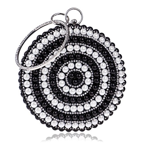Borsa da sera con strass in argento da donna (Color : Silver) Black