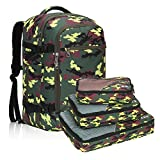 Hynes Eagle Travel Backpack 40L Flight Approved Carry on Backpack, Yellow Camo with 3PCS Packing Cubes