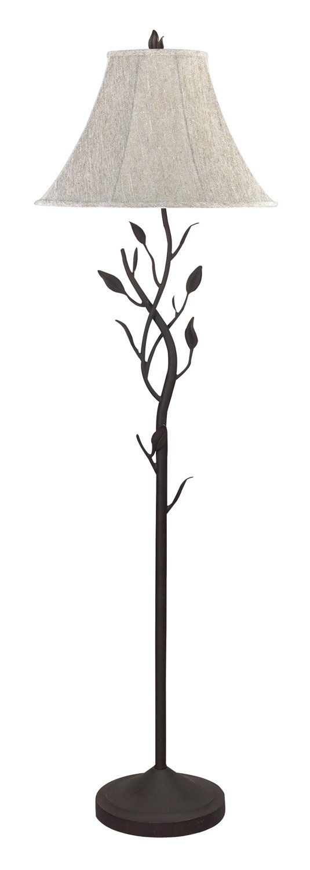 Cal Lighting BO-769 Floor Lamp with Tan Tweed Fabric Shades, 64 x 11 x 64 , Black Finish