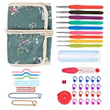 Teamoy Ergonomic Crochet Hooks Set, Canvas Wrap Organizer Roll Up, Knitting Needle Kit with 9pcs 2mm to 6mm Soft Grip Crochets and complete Accessories, Functional and Easy to Carry, Plum Flowers