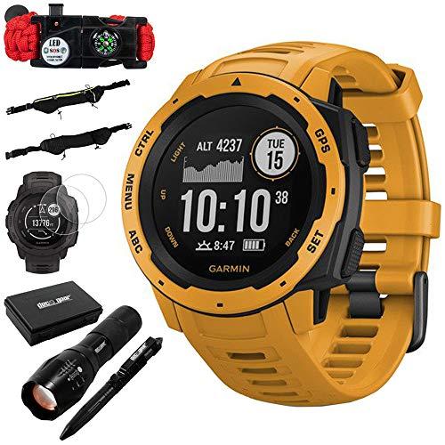 Garmin Instinct Rugged Outdoor Watch w/GPS & Heart Rate Monitoring, Sunburst +Accessories Bundle Includes, Tactical Emergency Bracelet, Tactical Flashlight & Pen Set w/Case, Zippered Waist Bag ()