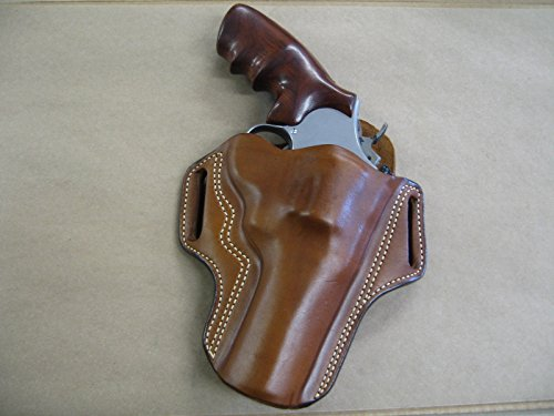 (Leather 2 Slot Molded Pancake Belt Holster for Smith & Wesson S&W N Frame 4