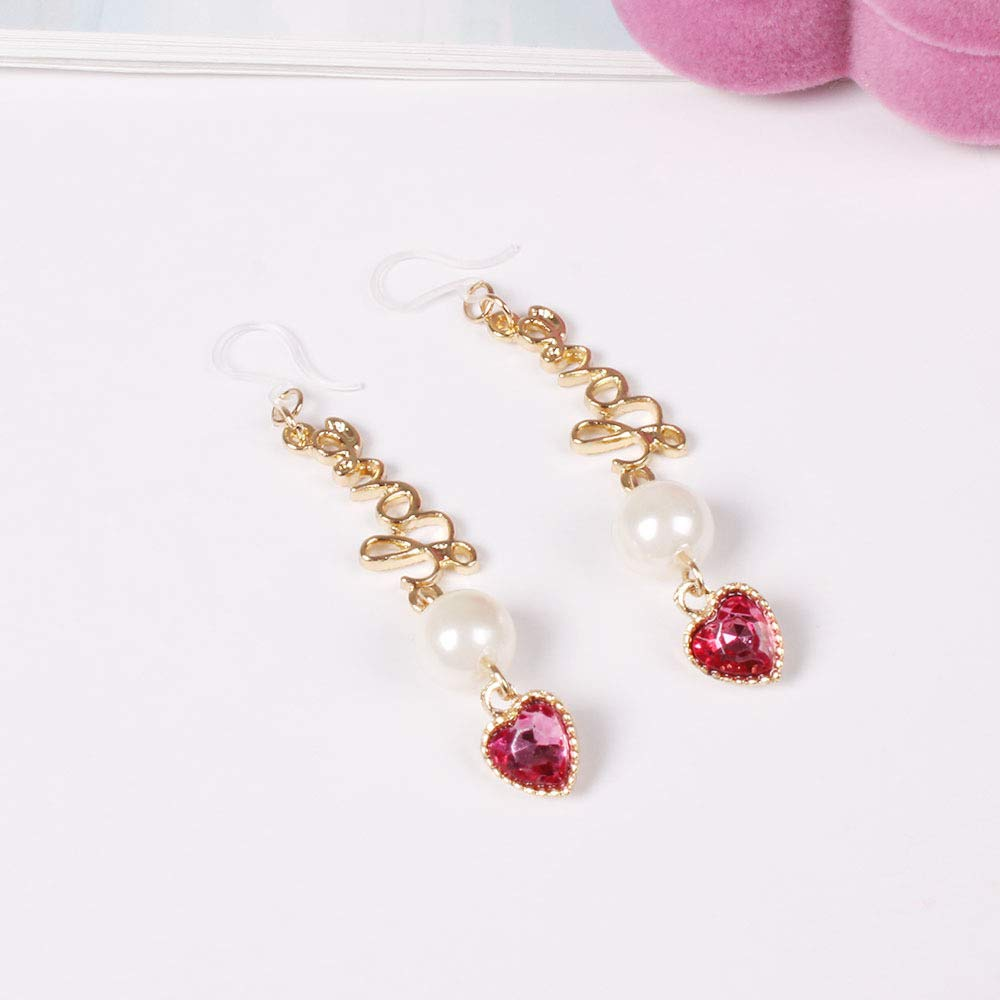 18K Gold Plated Ruby Red Heart Wave shape LOVE Letter Charm With Pearl Tassel Dangle Earrings