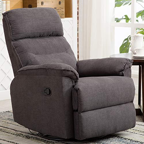 (CANMOV Swivel Rocker Recliner Chair - Single Manual Reclining Chair, 1 Seat Motion Recliner Chair with Padded Seat Back, Gray)