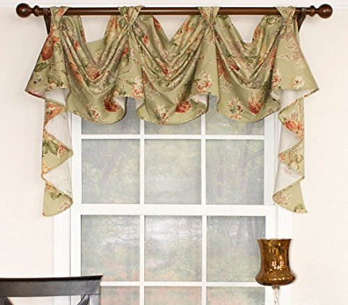 - RLF HOME Floral Essesnce 3-Scoop Sage Window Dressings Victory Swag,