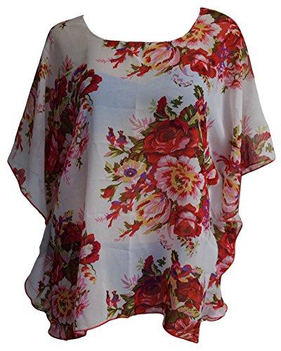 Caftán Gasa Estampado Floral Cubierta de la Playa Blusa Blanco