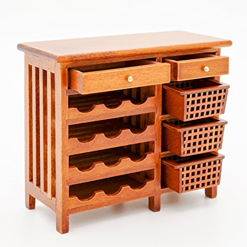 Odoria 1:12 Miniature Wood Wine Rack with Table Top Dollhouse Furniture Accessories