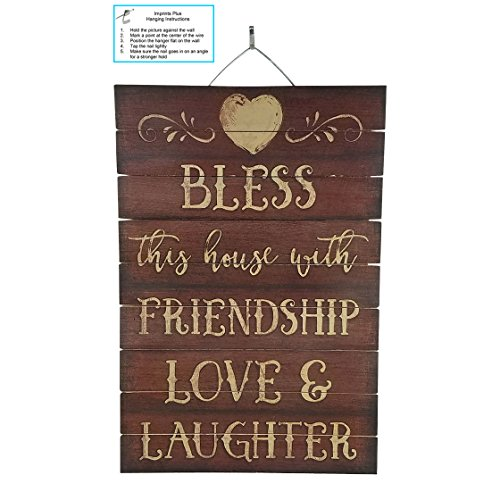 """Imprints Plus Bless This House Inspirational Distressed Wood Sign by, 12"""" x 18"""" Rustic Home Decor Plaque with Hanger 45-01613"""