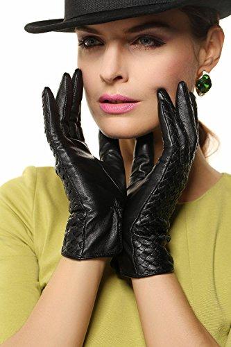 WARMEN Luxuriöse Marken-Design-Handschuhe aus echtem Leder mit glänzendem Logo, das ideale Geschenk für Sie Schwarz