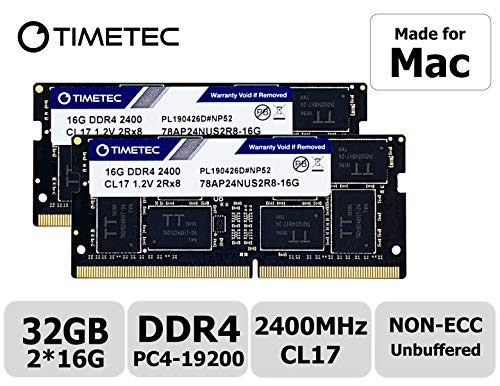 Timetec Hynix IC 32GB KIT(2x16GB) Compatible for Apple 2017 iMac 27-inch w/Retina 5K Display, 2017 iMac 21.5-inch w/Retina 4K or Non-Retina Display DDR4 2400MHz PC4-19200 CL17 SODIMM(32GB KIT(2x16GB))
