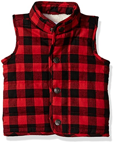 Mud Pie Baby Boys' Toddler Sherpa Lined Quilted Vest, red Buffalo, SM/ 12-24 MOS