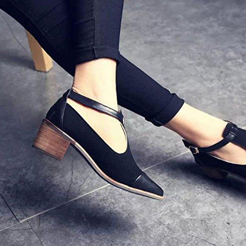 Bovake Summer Women Sandals, Lady Vintage Women Pointed Toe Cut Heel Patchwork Buckle High Heels Wedge Shoes - Bohemia Heels Ladies Ankle Strap Single Shoes Flat Footwear Flip Flop Sandal Black