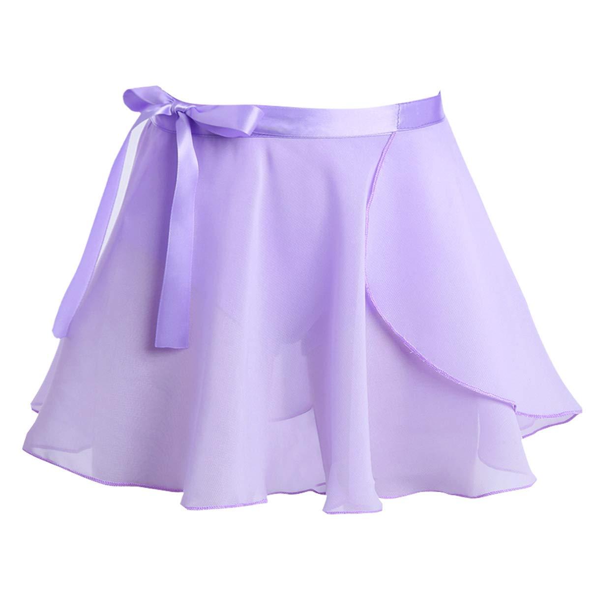 TiaoBug Girls' Ballet Wrap Skirt with Tie Waist Chiffon Basic Wrap Tutu Dancewear Costumes Lavender 3-4