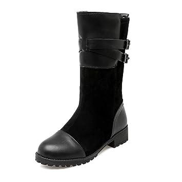 HN Boots Mujer Mitad de la Pantorrilla Botas Botines Tacon Bajo Negro Gamuza Moda Otoño Invierno Zapatos Talla 35-42: Amazon.es: Deportes y aire libre