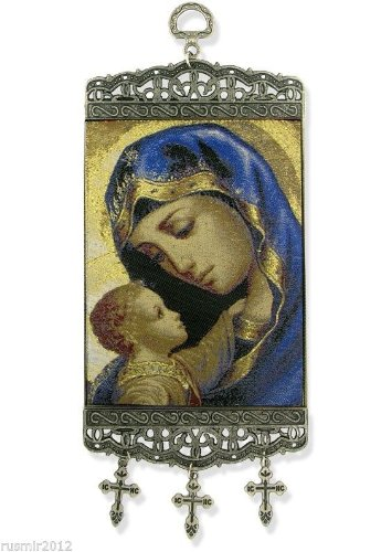 Madonna & Child Icon Banner Tapestry Textile Art 9''
