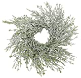 15'' Icy Cypress and Green Berry Wreath or Candle Ring