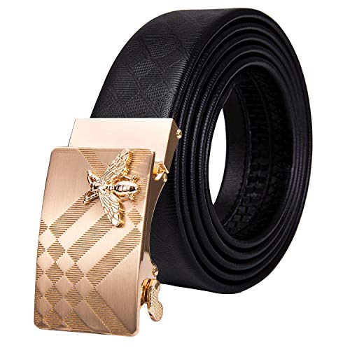Dubulle Gold Men Belt Fashion Leather Rachet Adjustable Automatic Sliding Designer Gold Buckle Dress Casual Wedding 1 3/8