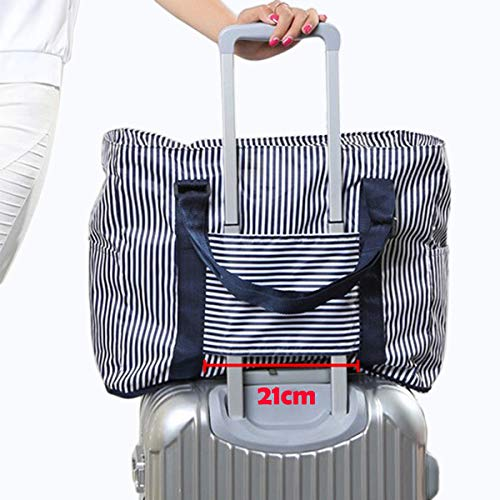 (ZAIXU Foldable Carry On Travel Duffel Bag Luggage Sports Gym Tote Water Resistant Lightweight Waterproof (Blue))