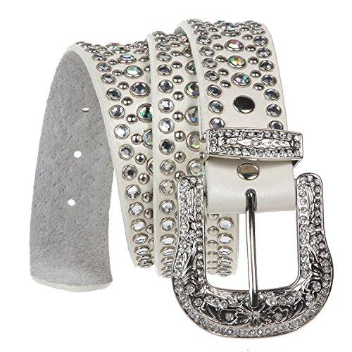 White Metallic Rhinestone Buckle (MONIQUE Women Western Rhinestone Metallic Leather Studded Snap On 1.5'' Belt,White M/L - 38)