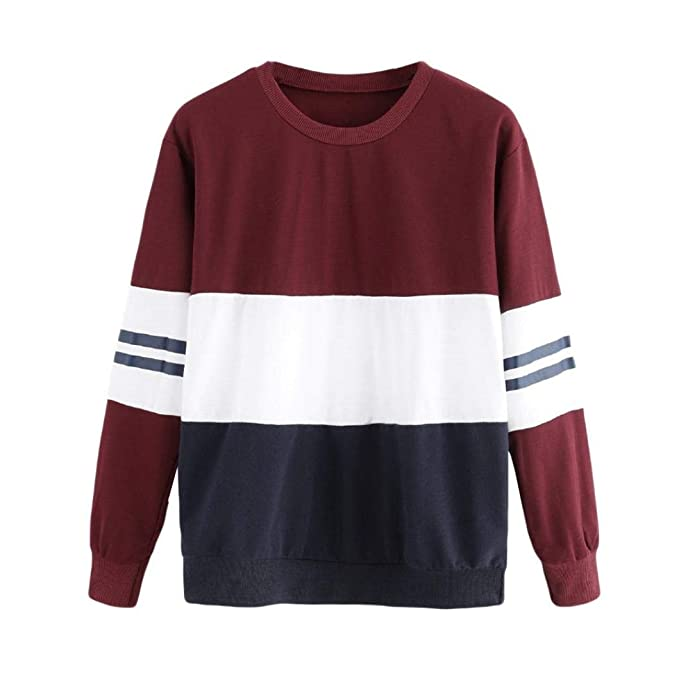 def45e6bad49bd KIMODO Bluse Damen Langarm Shirts Gestreiftes Color Block Top Sweatshirt  Mode: Amazon.de: Bekleidung