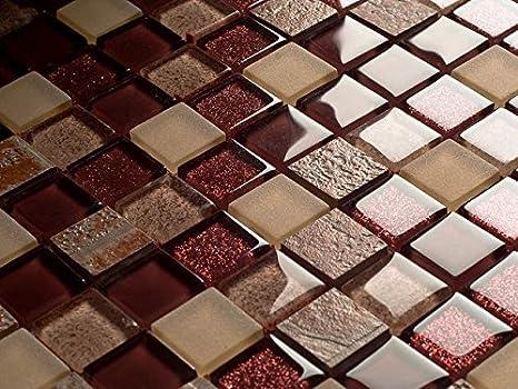 Lusso vetro mosaico pietra marrone opaco piastrelle bagno cucina