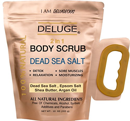 Inanimate SEA SALT BODY SCRUB 100% NATURAL. DEAD SEA SALT, SHEA AND COCONUT OIL. + VITAMIN E.DETOX- Upset MUSCLES-RELAXATION- STRESS RELIEF- DRY SKIN. PARABEN FREE. NET WEIGHT 10 OZ
