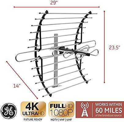 GE 33692 Attic Mount HD TV Antenna Indoor Long Range Compact D 60 Mile Range