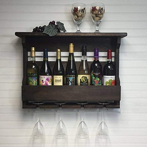 Amazoncom Wine Rack Wall Mounted 7 Bottle Wine Rack And Stemware