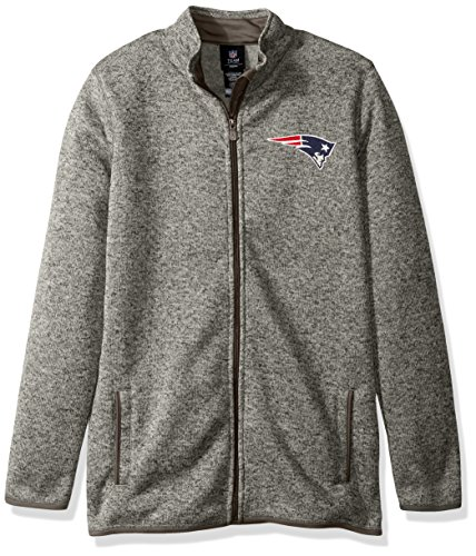 Outerstuff NFL Youth Boys Lima Full Zip Fleece Jacket-Cool Grey-M(10-12), New England Patriots