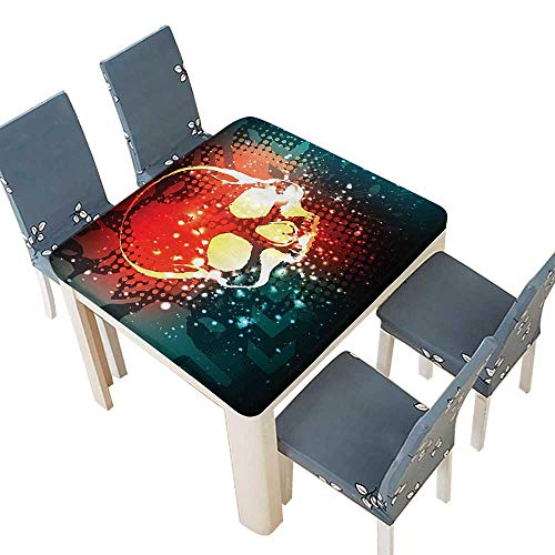 PINAFORE Decorative Tablecloth tal Grunge Display Over Computer Stylized Futuristic Background Table Cover for Dining Room and Party 61 x 61 INCH (Elastic Edge)