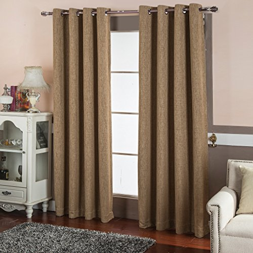 Best Dreamcity Room Darkening Thermal Insulated Solid Grommet Faux Linen Blackout Curtains For