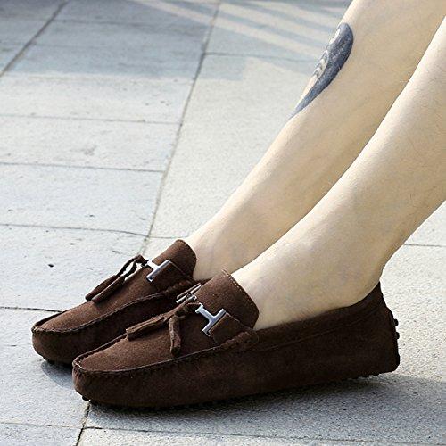 Tda Hombres New Tassel Suede Driving Mocasines Penny Boat Zapatos Marrón