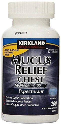 Kirkland Signature LpeDJk Mucus Relief Chest Guaifenesin 400 mg Expectorant, 200 Count (3 Pack) ()