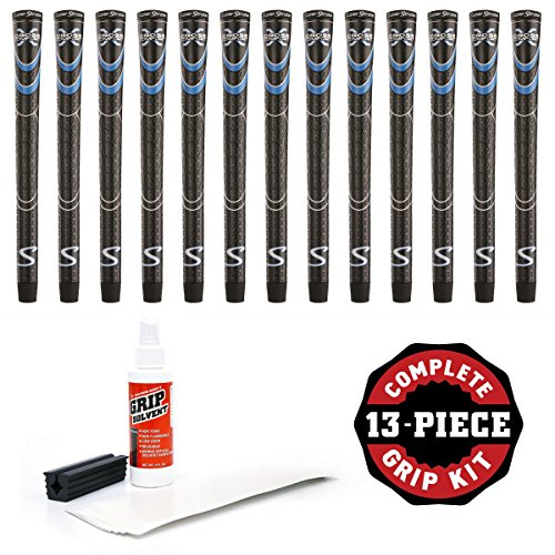 (SuperStroke Cross Comfort Black/Blue Standard - 13 Piece Golf Grip Kit (with Tape, Solvent, Vise clamp))