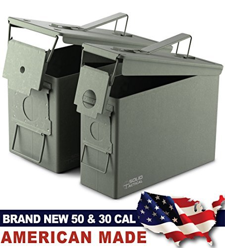 New Military Surplus Steel Ammo Can Double Pack with 50 Caliber Ammo Can (M2A1) and 30 Caliber Ammo Can (M19A1) Made in USA by Milspec Military Manufacturer