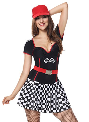 - Sexy4Lady Sexy Short Sleeved Racer Car Driver Adult Halloween Party Costume Dress Black Small